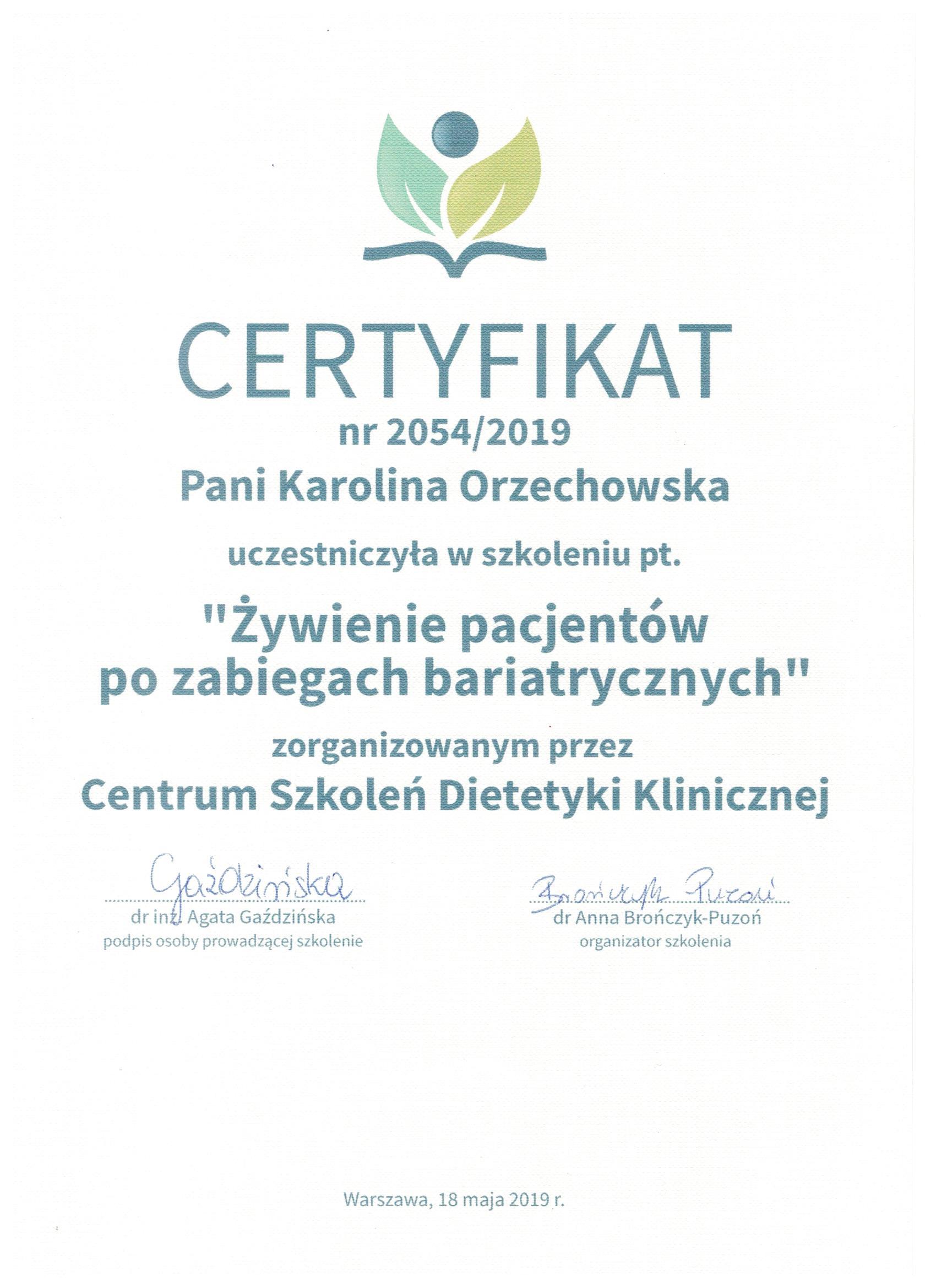 Żywienie po zabiegach bariatrycznych - certyfikat